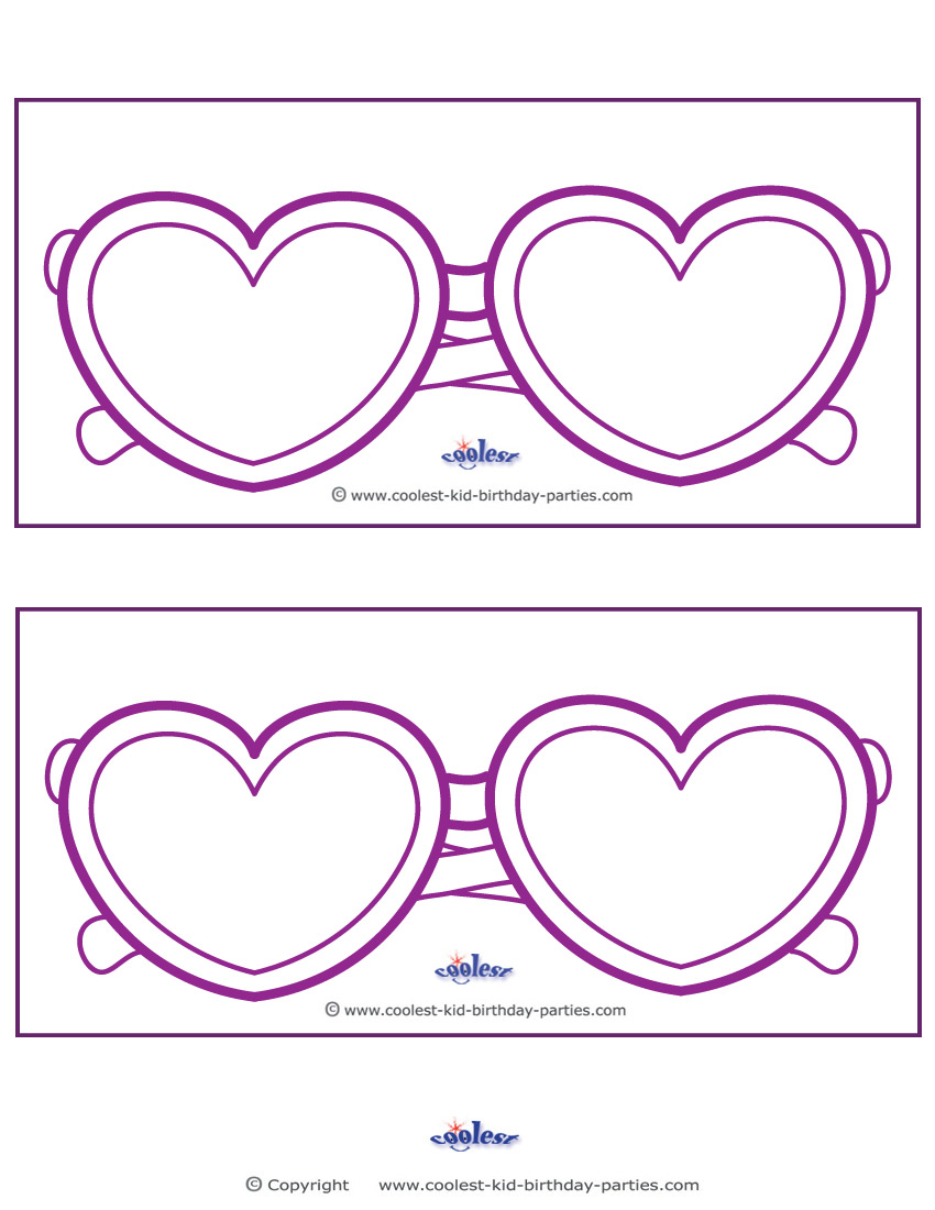 blank printable heart shaped glasses invitations