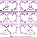Blank Printable Heart-Shaped Glasses Thank You Cards