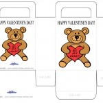 Printable Colored Teddy Bear Valentine's Day Favorbag