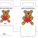 Printable Colored Teddy Bear Valentine's Day Favorbag