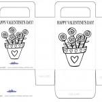 Printable B&W Flower Pot Valentine's Day Favorbag