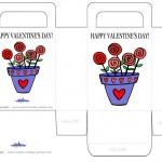Printable Colored Flower Pot Valentine's Day Favorbag