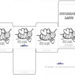 Printable B&W Bee-Mine Valentine's Day Favorbox