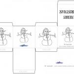 Printable B&W Snowman Favorbox