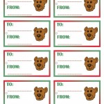 Printable Colored Bear Face Gift Tags