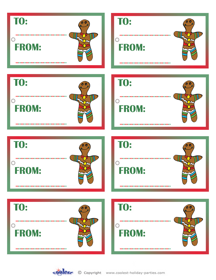 Printable Colored Gingerbread Gift Tags Coolest Free Printables