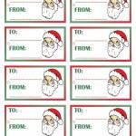 Printable Colored Santa Face Gift Tags