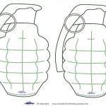 Medium Printable Grenade Decorations
