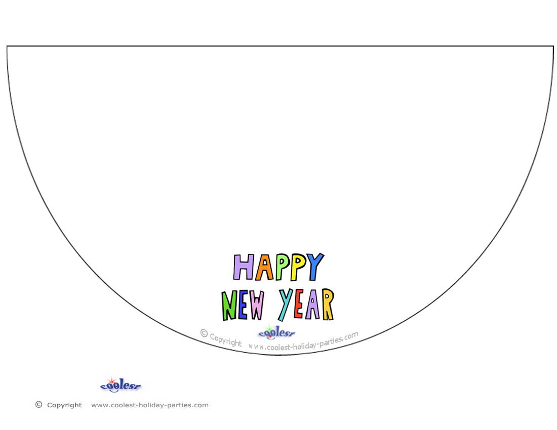 printable colored happy new year cone hat