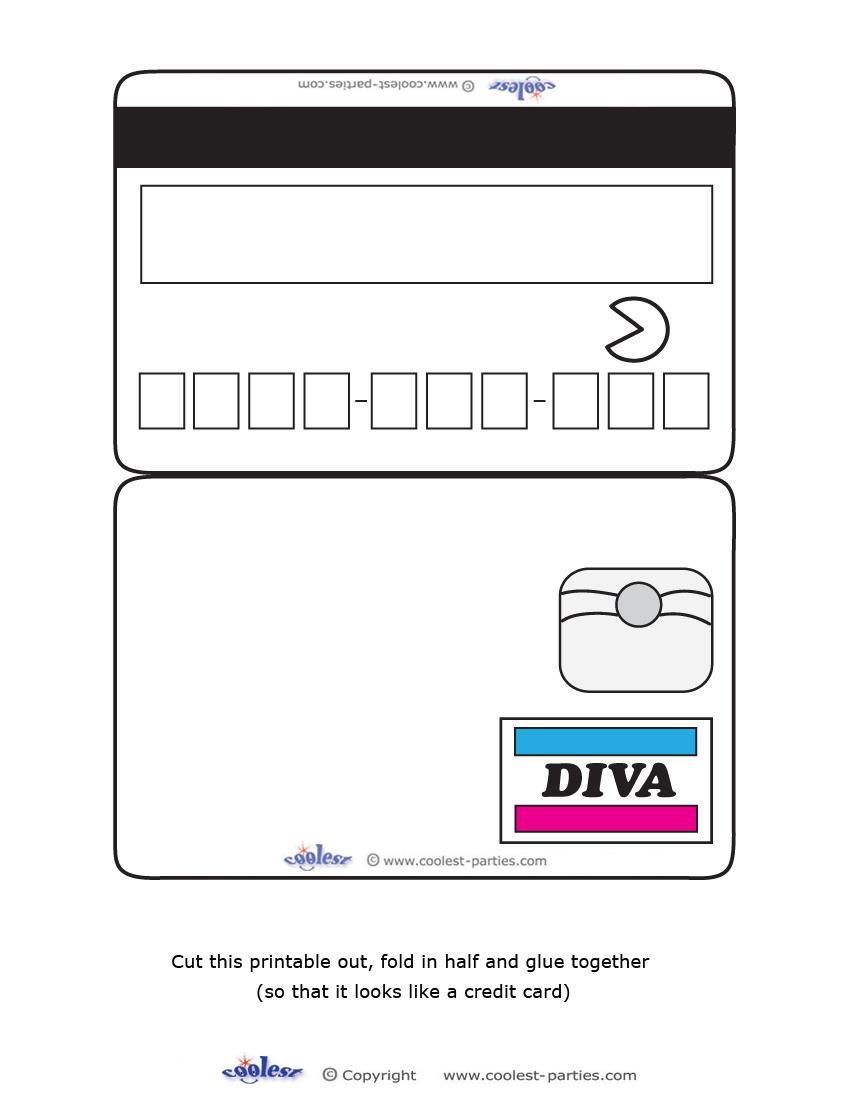 Blank Printable Diva Credit Card Invitations