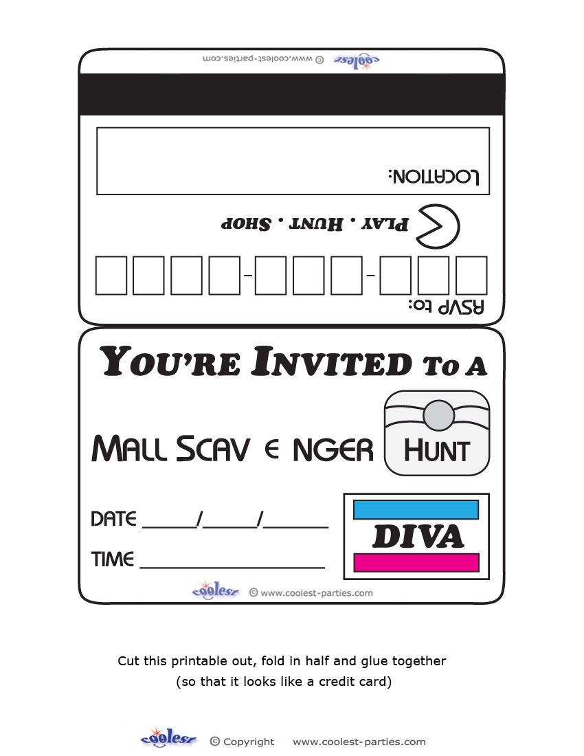 Printable diva mall scavenger hunt invitations download printable filmwisefo Images