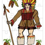 Printable Colored Indian Medium-Piece Puzzle