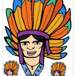 Printable Colored Indian Face 1 Medium-Piece Puzzle
