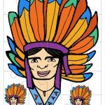 Printable Colored Indian Face 1 Medium-Piece Puzzle