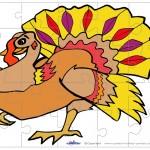 Printable Colored Turkey 1 Medium-Piece Puzzle