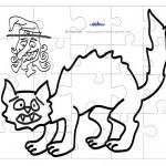 Printable B&W Cat Medium-Piece Puzzle