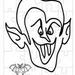 Printable B&W Dracula Medium-Piece Puzzle