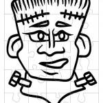 Printable B&W Frankenstein Medium-Piece Puzzle