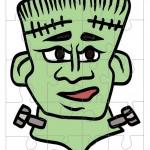 Printable Colored Frankenstein Medium-Piece Puzzle