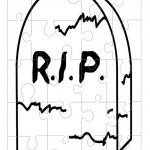 Printable B&W Gravestone Medium-Piece Puzzle