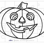 Printable B&W Pumpkin 1 Medium-Piece Puzzle