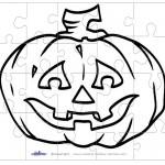 Printable B&W Pumpkin 2 Medium-Piece Puzzle