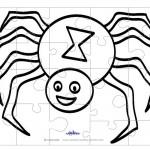 Printable B&W Spider Medium-Piece Puzzle