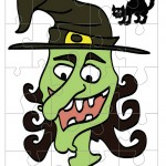 Printable Colored Witch Medium-Piece Puzzle