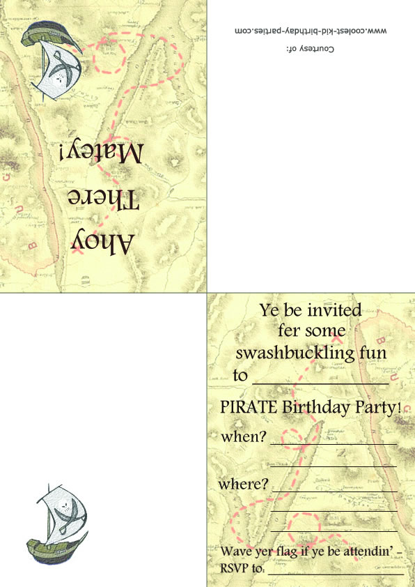 printable pirate foldable invitations