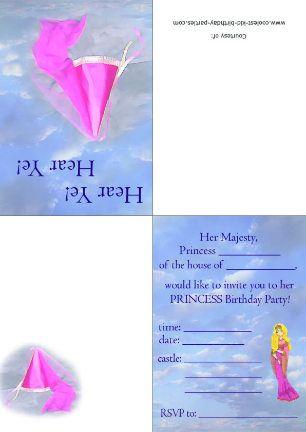 printable princess foldable invitation 2