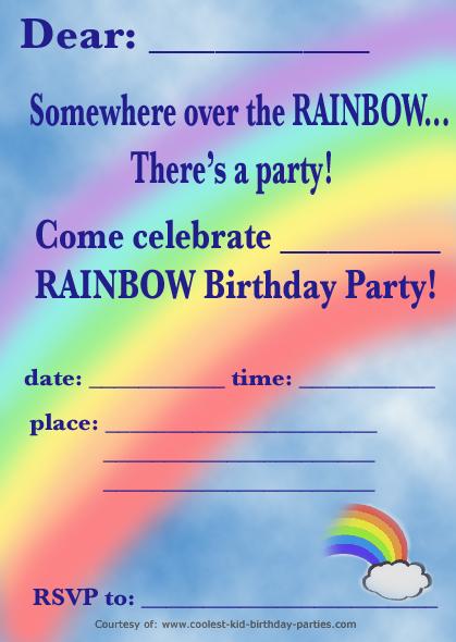 free printable rainbow birthday party invitations Josemulinohouseco