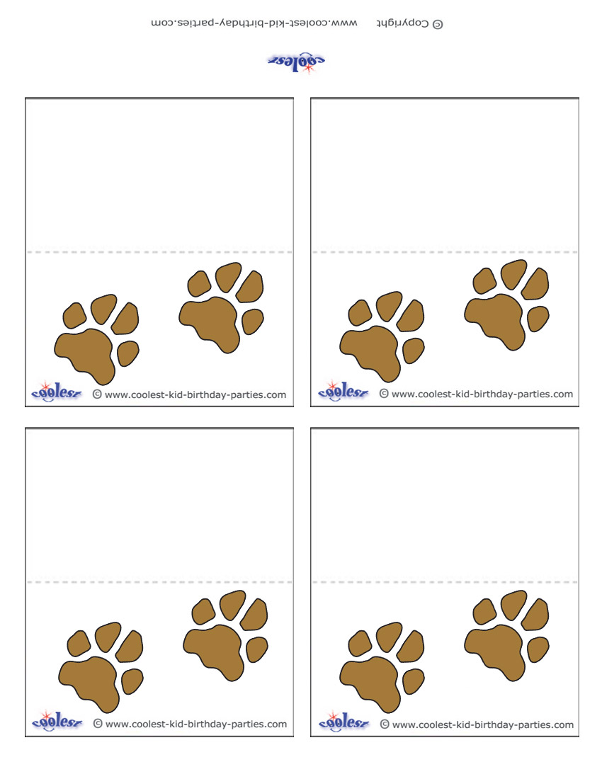 graphic about Free Printable Paw Prints known as Printable Paw Print Placecards