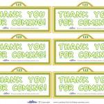 Printable Sesame Street Sign Thank You Cards