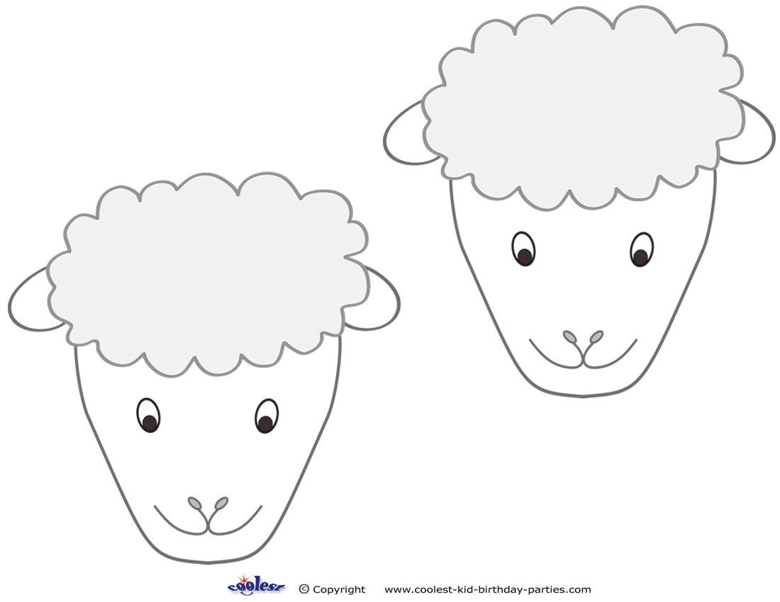 Medium Printable Sheep Face Decorations