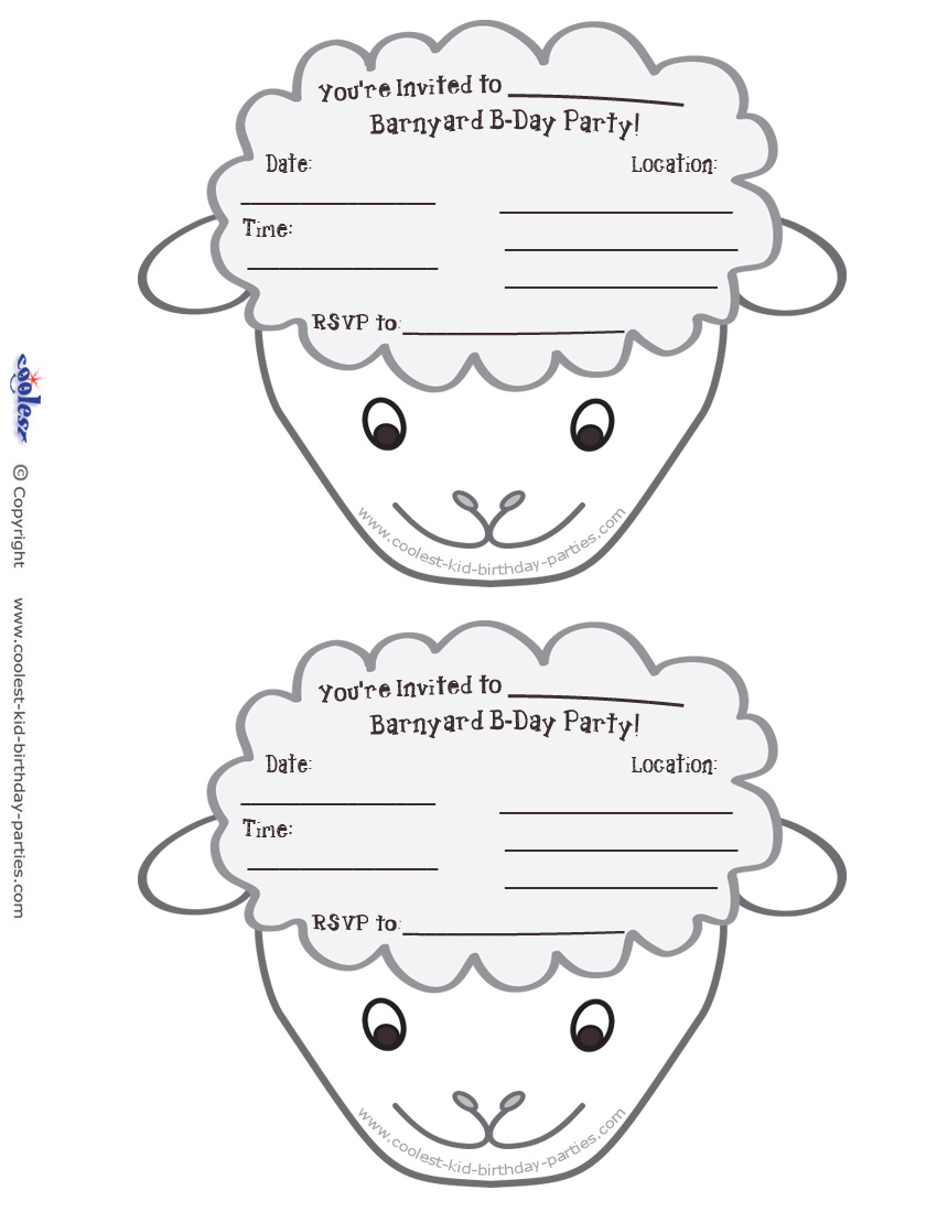 Printable Sheep Face Invitations