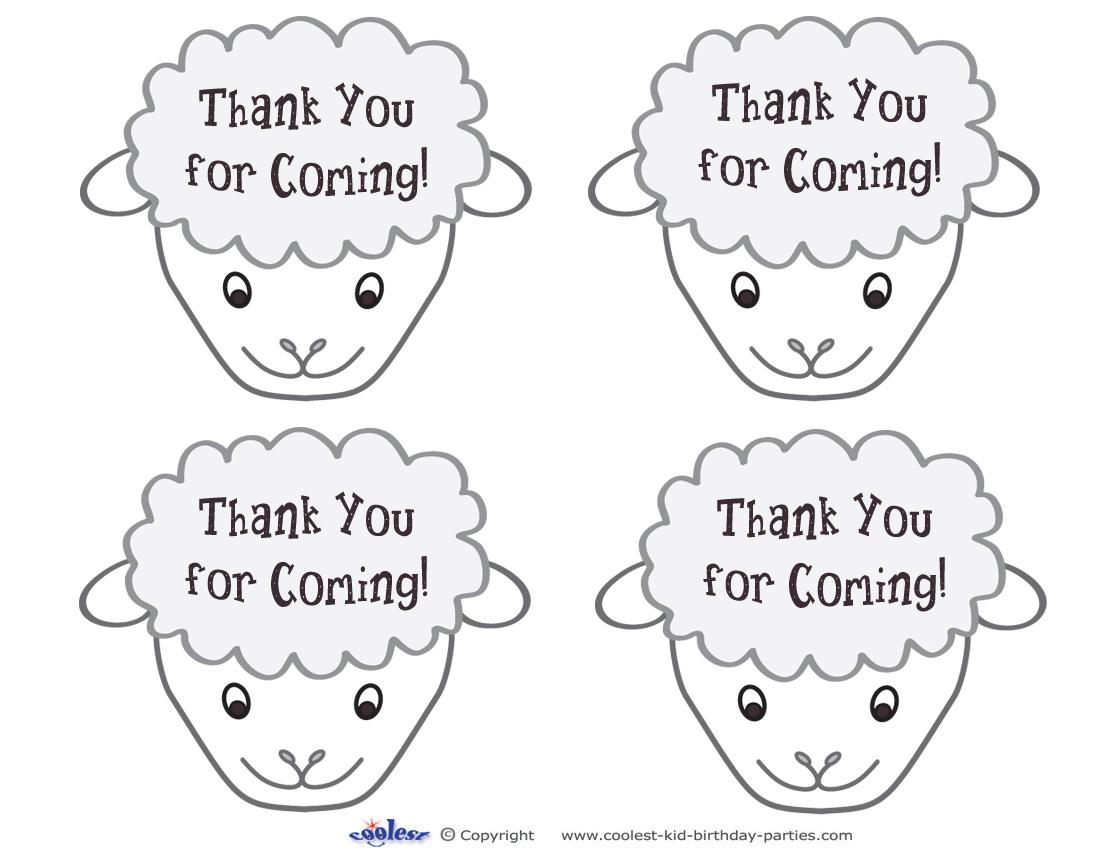 Printable Sheep Face Thank You Cards