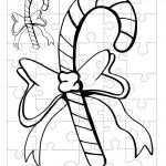 Printable B&W Candy Cane Small-Piece Puzzle