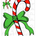 Printable Colored Candy Cane Small-Piece Puzzle