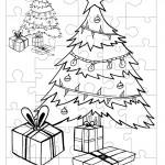 Printable B&W Christmas Tree Small-Piece Puzzle