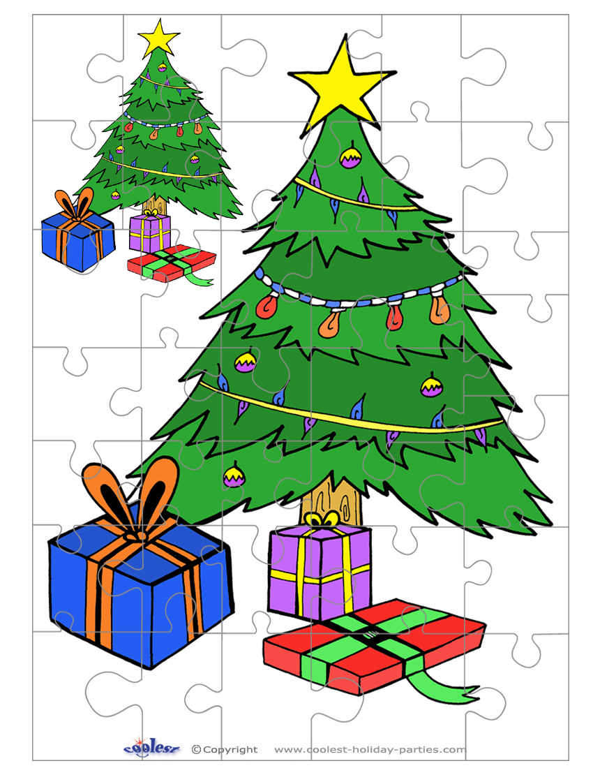 Printable Colored Christmas Tree Small-Piece Puzzle