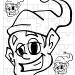 Printable B&W Elf Small-Piece Puzzle