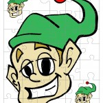 Printable Colored Elf Small-Piece Puzzle