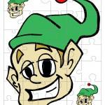 Printable Colored Elf Small-Piece Puzzle