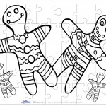 Printable B&W Gingerbread Small-Piece Puzzle