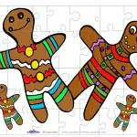 Printable Colored Gingerbread Small-Piece Puzzle