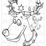 Printable B&W Reindeer Small-Piece Puzzle