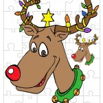 Printable Colored Reindeer Small-Piece Puzzle