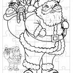 Printable B&W Santa 1 Small-Piece Puzzle