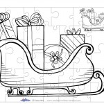 Printable B&W Sled Small-Piece Puzzle