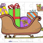 Printable Colored Sled Small-Piece Puzzle